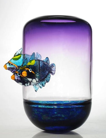 Fish Bowl in Purple with Puffer Fish - Eclipse Gallery