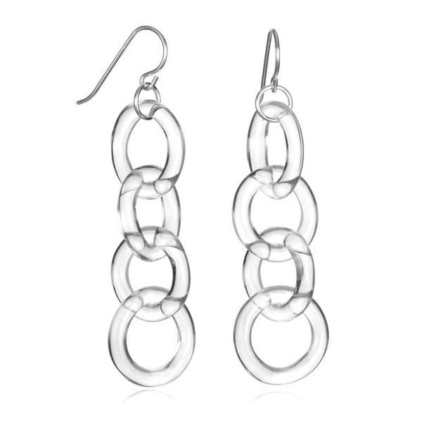 Glass Circle Chain Earrings - Eclipse Gallery