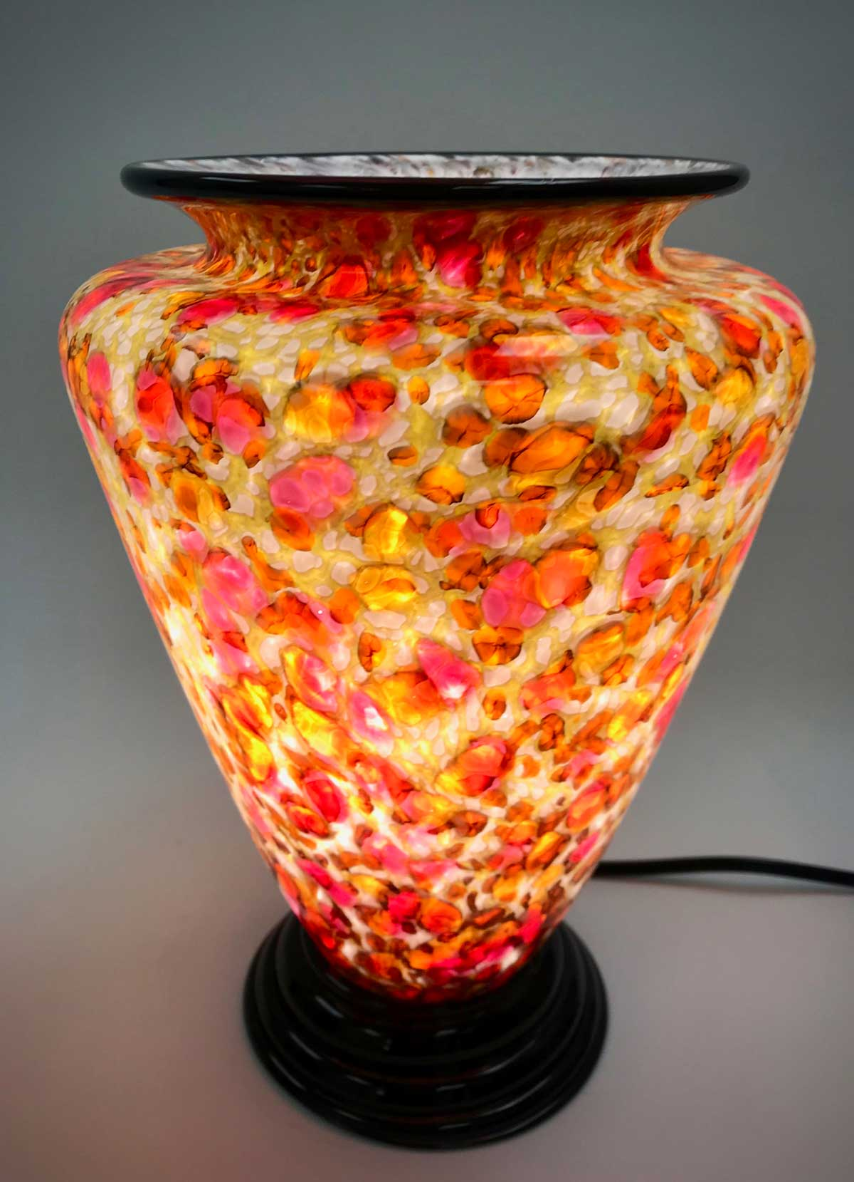 Gold, Yellow, and Rose Glass Table Lamp - Eclipse Gallery