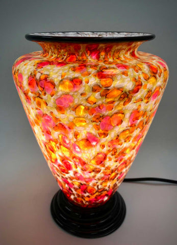 Gold, Yellow, and Rose Glass Table Lamp