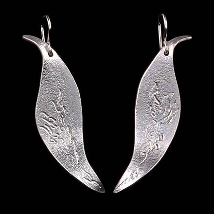 Leaf with Cattails or Vine Earrings