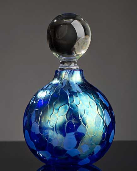 Iridescent Blue Sphere Perfume Bottle - Eclipse Gallery