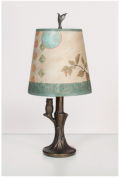 Bronze Owl Lamp With Small Drum Shade In Celestial Leaf