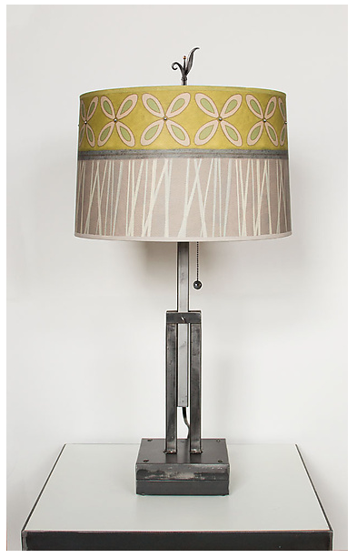 Adjustable Height Table Lamp with Kiwi Large Drum Shade