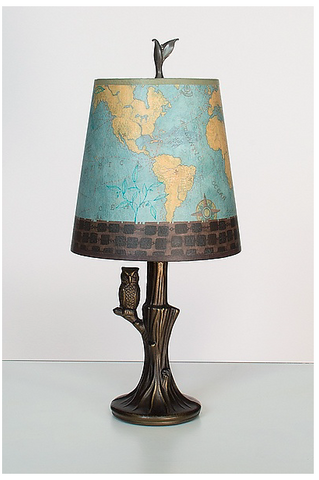 Bronze Owl Lamp with Small Drum Shade in Map