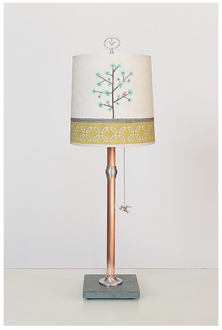 Steel Table Lamp with Drum Shade in Tree Song