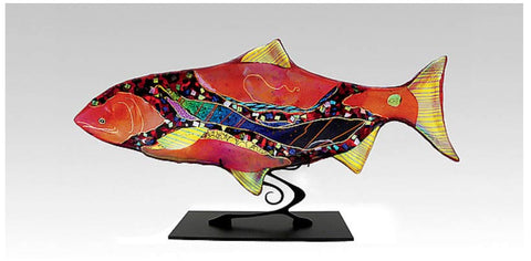 Sea Glass Ruby Moon Fish Sculpture