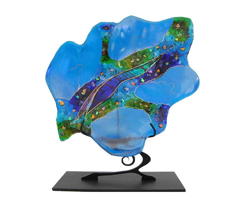 Large Turquoise Leaf on Stand - Eclipse Gallery
