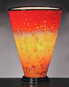 Red and Gold Layered Blown Glass Lamp
