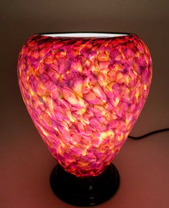 Rose and Lime Green Glass Lamp