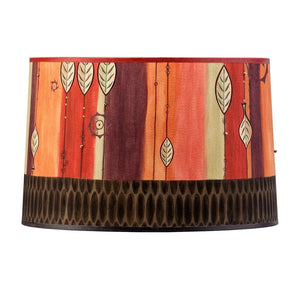Large Drum Lamp Shade in Leaf Stripe Red