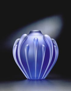 Small Seedpod Vase cobalt sandblasted Thomas Kelly Eclipse Gallery