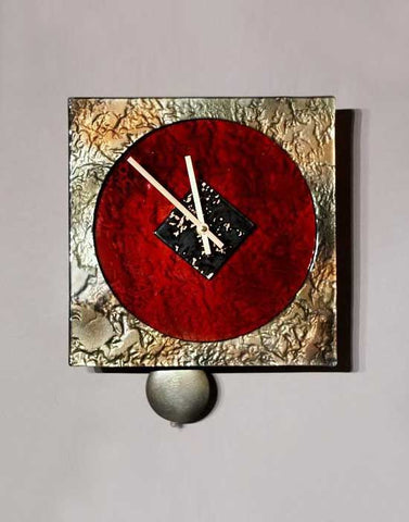 Square Clock Red