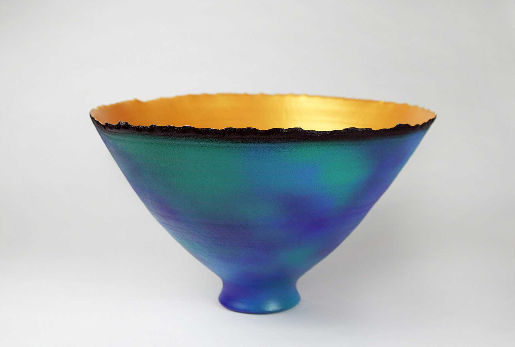 Wide Blue-Green mottled Prosperity Bowl