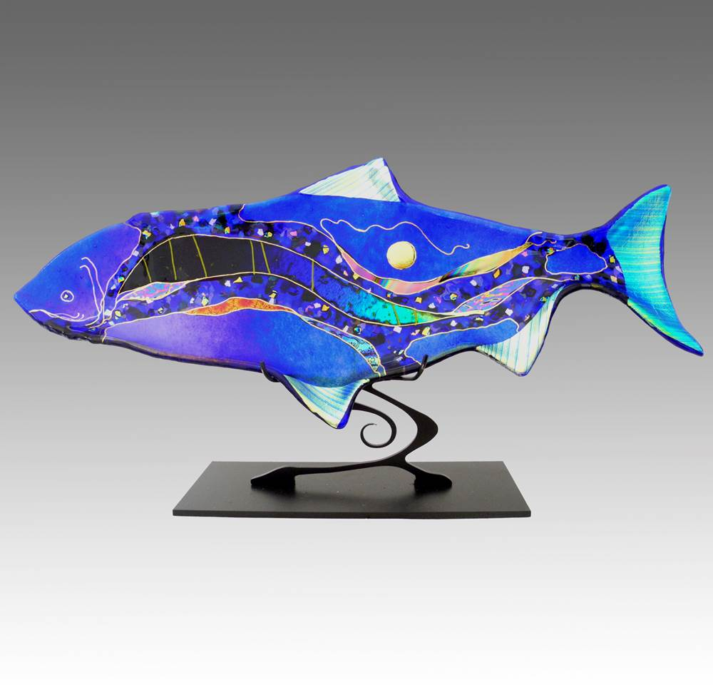 Abstract Fish on Metal Stand