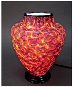 Purple and Pink Blown Glass Lamp