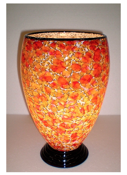 Gold and Red Blown Glass Lamp