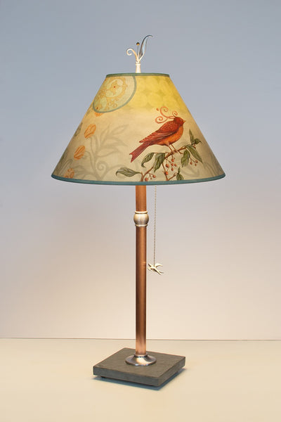 Copper Table Lamp with Conical Shade in Birdscape - Eclipse Gallery