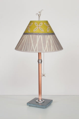 Copper Table Lamp with Conical Shade in Kiwi