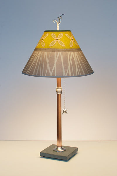 Copper Table Lamp with Conical Shade in Kiwi - Eclipse Gallery