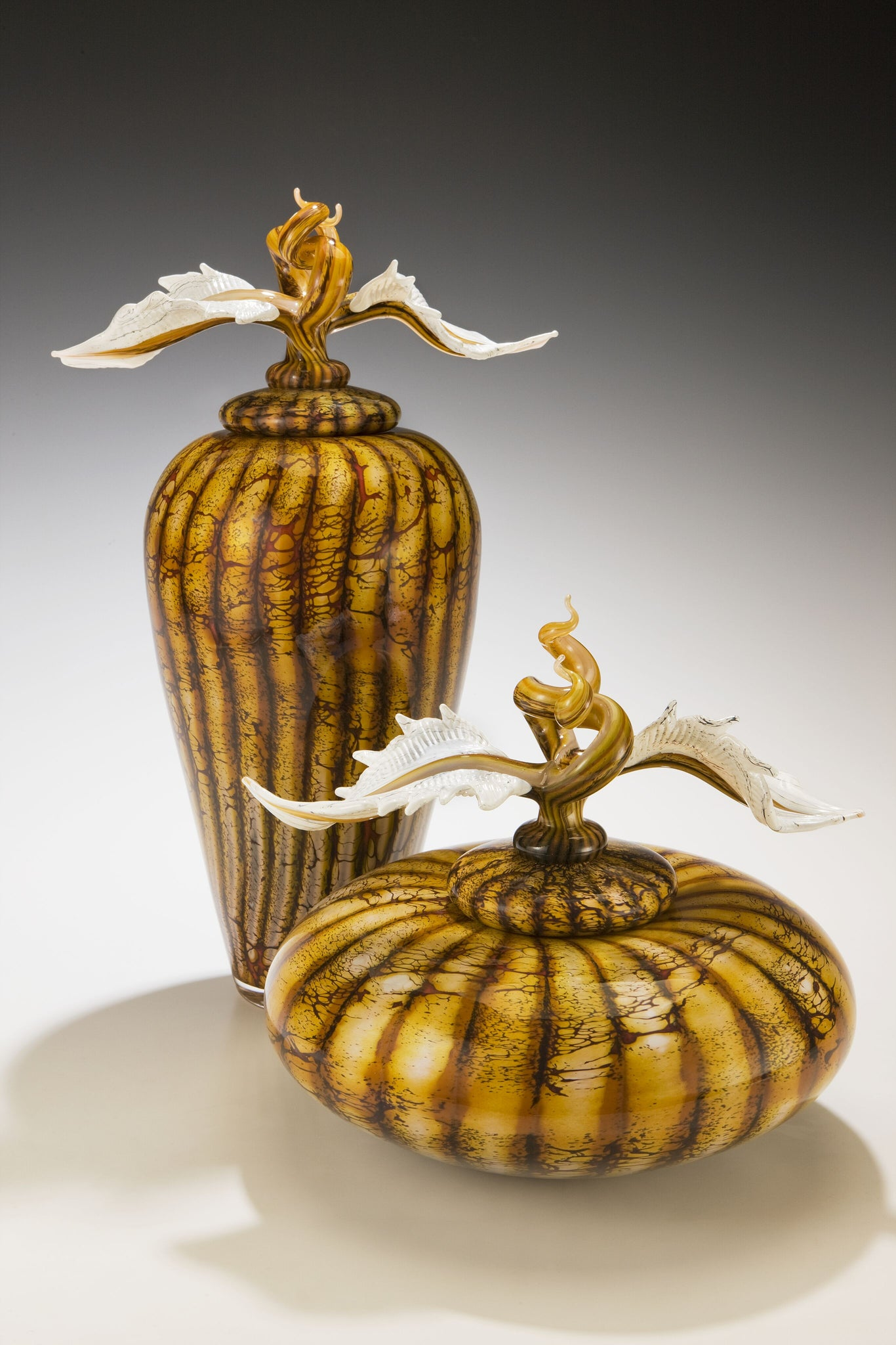 Batik Covered Jar & Bowl with Avian Finials
