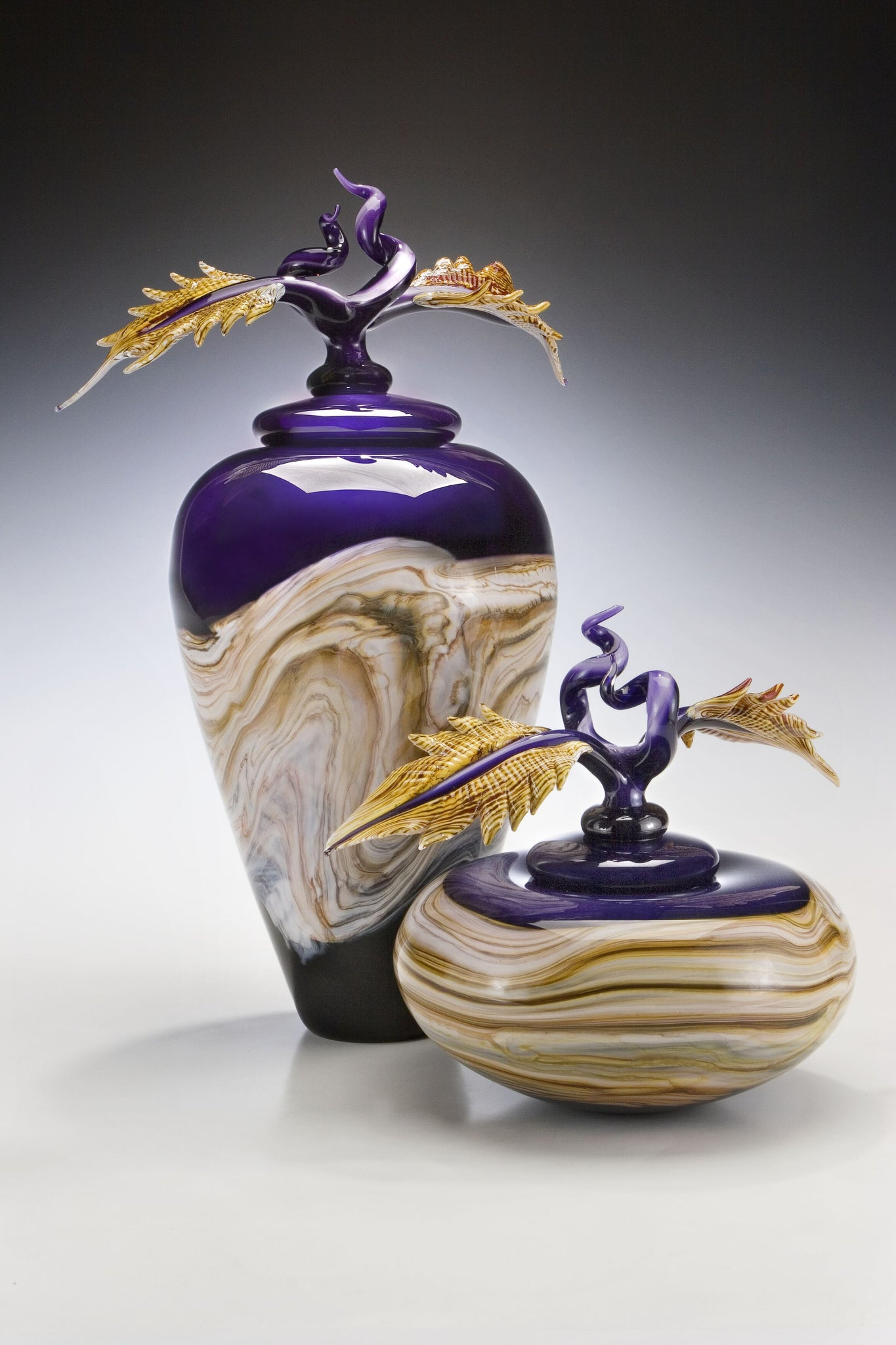 Amethyst Strata Covered Bowl & Jar with Avian Finials