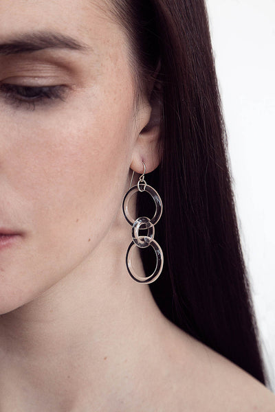 Glass Thin Waisted Chain Earrings