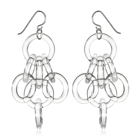 Glass Cluster Chain Earrings