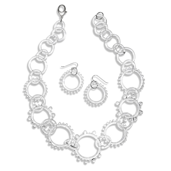 Glass Statement Wheel Chain Necklace