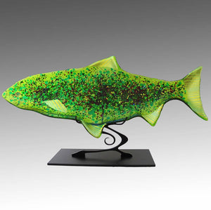 Sea Glass Trout on Metal Stand