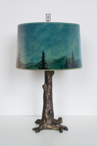 Bronze Tree Table Lamp in Midnight Sky