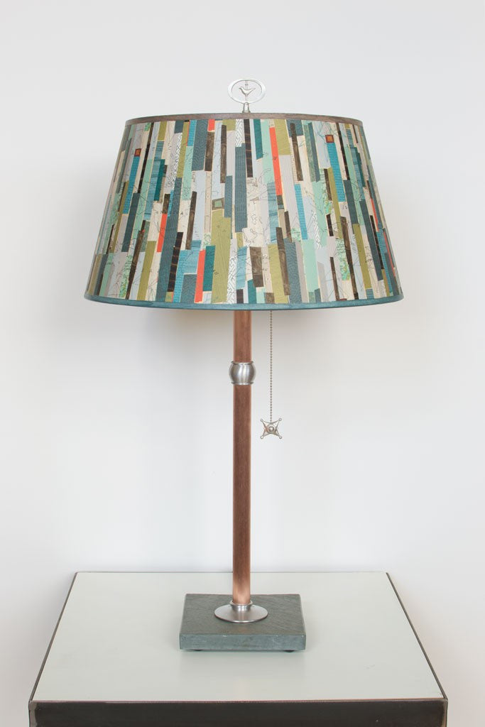 Copper Table Lamp with Bouillotte Shade in Papers