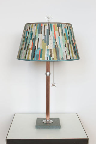 Copper Table Lamp with Bouillotte Shade in Papers - Eclipse Gallery