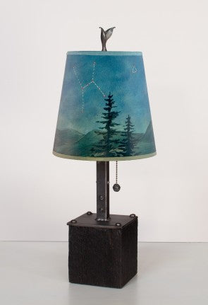 Steel Table Lamp on Reclaimed Wood in Midnight Sky