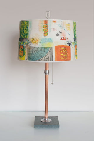 Copper Table Lamp with Large Drum Shade in Mix