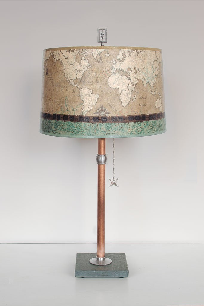 Copper Table Lamp with Drum Shade in Sand Map