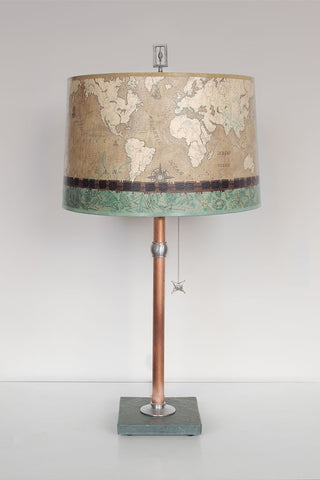 Copper Table Lamp with Drum Shade in Sand Map - Eclipse Gallery