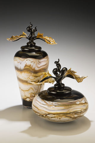 Black Strata Covered Bowl & Jar with Avian Finials