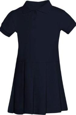 San Jose Catholic Girl's Navy Pique Polo Dress with logo- K-3rd only