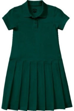 CCA Hunter Green Knit Polo Dress w/Logo (K-3rd) Everyday Option