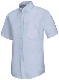 Logoed Light Blue Short Sleeve Button Down Oxford