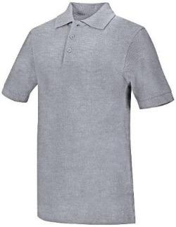 St. Patrick's Boys Heather Grey Pique Polo with School Logo