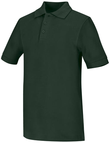 SEAS Unisex Pique Polo with School logo- Green & White