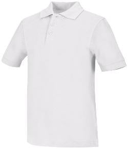 Unisex Pique Polo in White With Logo