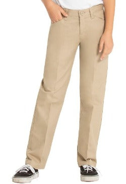 Girls Khaki Flat Front Pants