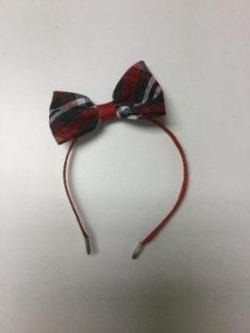 Covered Headband with Medium Bow in Sacred Heart plaid
