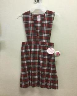 Girls Plaid V-Neck Jumper. K-4th GRADES ONLY.