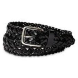 "1"" Black Leather Braided Belt"