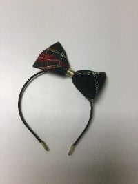 YWLA Covered Headband with Medium Bow in school plaid
