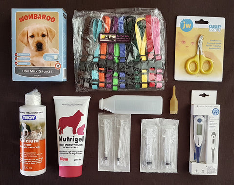 Whelping Starter Pack 4 with Set of 12 Small/Medium Clip Puppy ID Collars